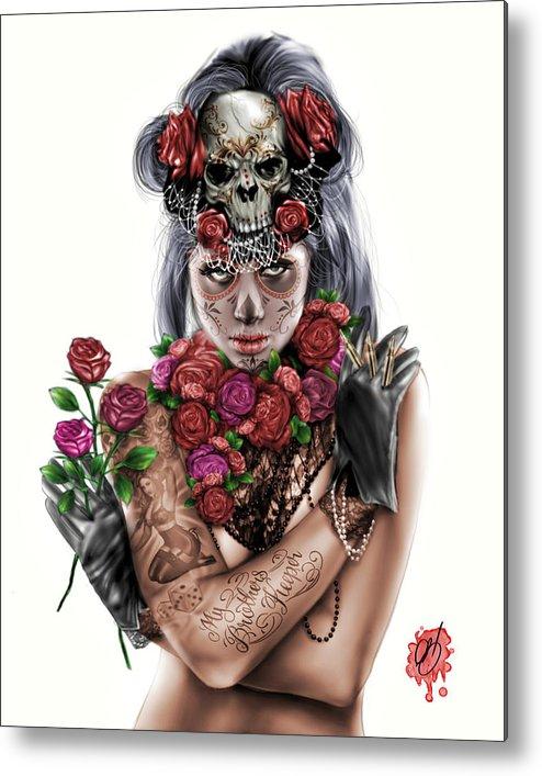 Pete Metal Print featuring the painting La Calavera Catrina by Pete Tapang