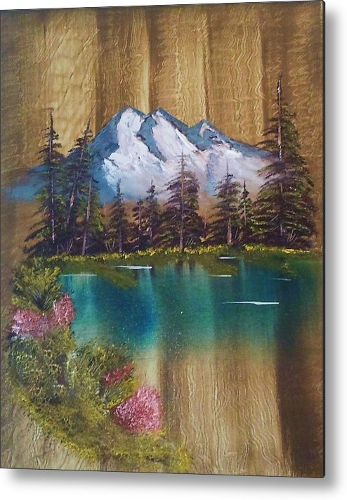 Sold * Landscape Metal Print featuring the painting Landscape On Old Barn Siding by Lee Bowman