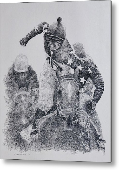 Horses Horse Racing Jockeys Racetrack Azeri Thorobreds Metal Print featuring the painting Last Call by Tony Ruggiero