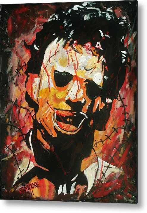 Leatherface Texas Chainsaw Massacre Horror Film Blood Bloody Gunnar Hansen Tobe Hooper Stitches Skin Mask Flesh Cannabalism Metal Print featuring the painting Leatherface by Jeremy Moore