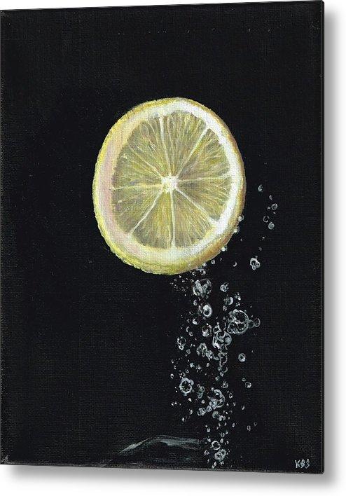 Lemon Metal Print featuring the painting Lemon Up by Karen Stitt