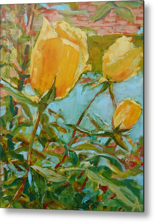 Yellow Metal Print featuring the painting Life Is The Flower by Azhir Fine Art