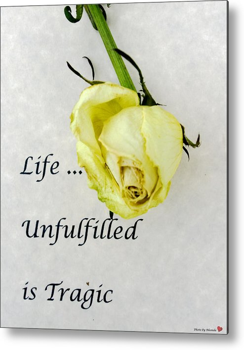 Still Life Metal Print featuring the photograph Life Unfulfilled Is Tragic by Rhonda McDougall