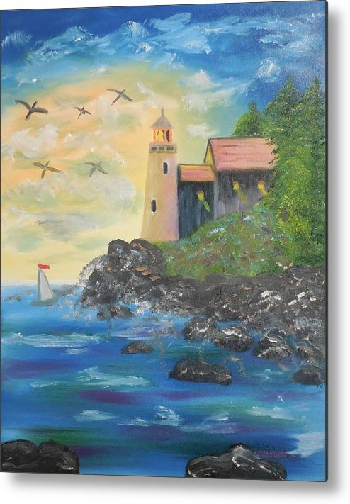 Lighthouse Metal Print featuring the painting Lighthouse by Stacey Pollio