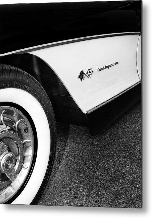 Car Auction Metal Print featuring the photograph Little Black Corvette Palm Springs by William Dey