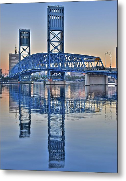 Main Metal Print featuring the photograph Main Street Bridge Jacksonville Florida by Frozen in Time Fine Art Photography