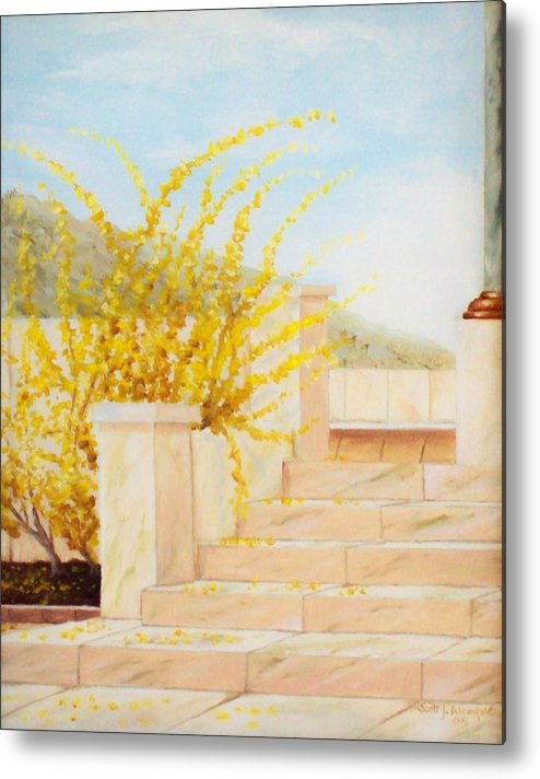 Landscape Metal Print featuring the painting Marble Steps by Scott Alcorn