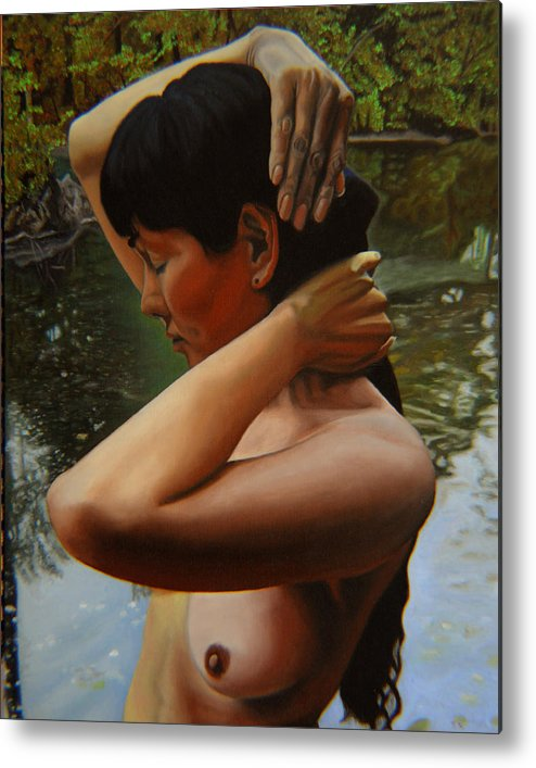 Bather Metal Print featuring the painting May Morning Arkansas River 3 by Thu Nguyen