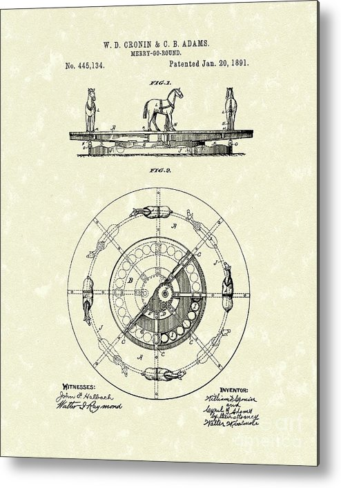 Cronin Metal Print featuring the drawing Merry-go-round 1891 Patent Art by Prior Art Design