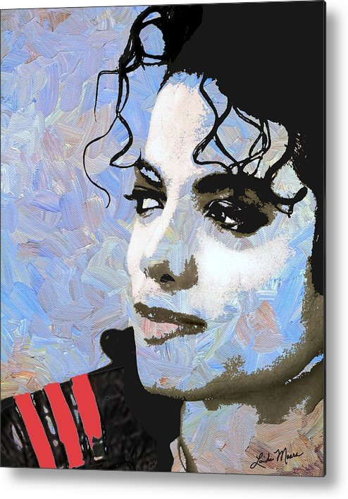 Michael Jackson Metal Print featuring the digital art Michael Jackson Blue And White by Linda Mears