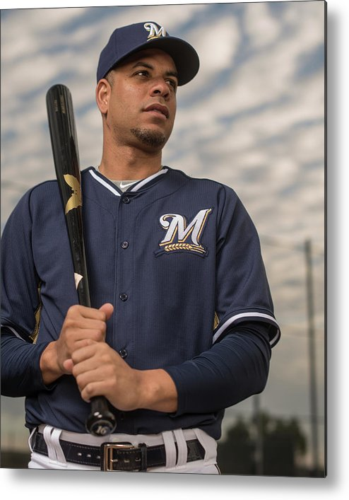 Media Day Metal Print featuring the photograph Milwaukee Brewers Photo Day by Rob Tringali