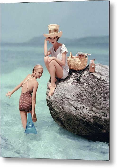Fashion Metal Print featuring the photograph Models At A Beach by Richard Rutledge