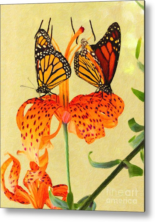 Butterfly Metal Print featuring the painting Monarch Butterflies by Safran Fine Art