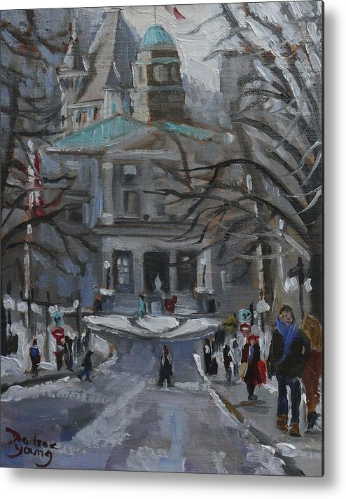 Montreal Metal Print featuring the painting Montreal Winter Mcgill by Darlene Young