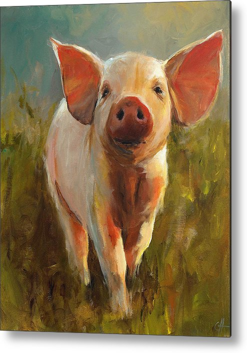 Pig Metal Print featuring the painting Morning Pig by Cari Humphry