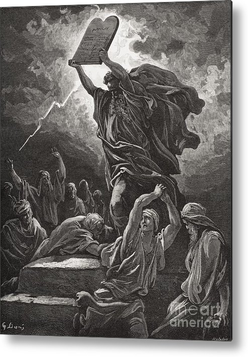 Tables Metal Print featuring the painting Moses Breaking The Tablets Of The Law by Gustave Dore