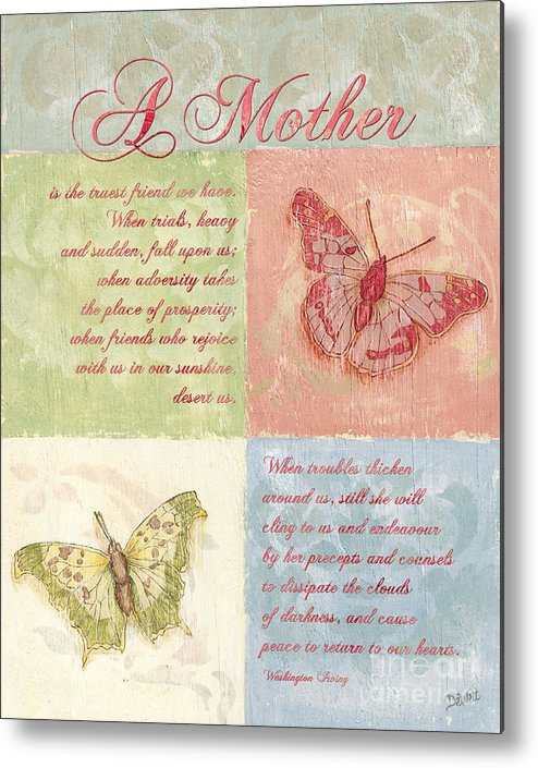 Butterfly Metal Print featuring the painting Mother's Day Butterfly Card by Debbie DeWitt
