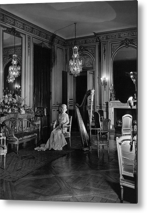 Home Metal Print featuring the photograph Mrs. Cornelius Sitting In A Lavish Music Room by Cecil Beaton