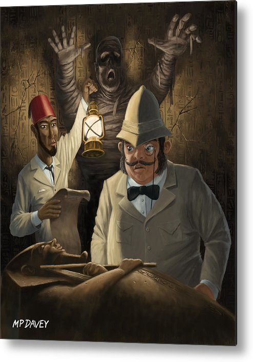Egyptian Metal Print featuring the painting Mummy Awake by Martin Davey