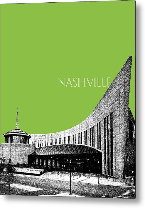 Architecture Metal Print featuring the digital art Nashville Skyline Country Music Hall Of Fame - Olive by DB Artist