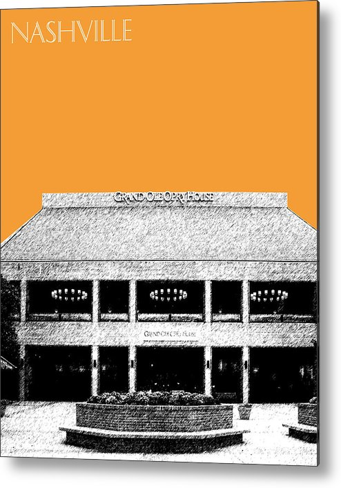 Architecture Metal Print featuring the digital art Nashville Skyline Grand Ole Opry - Orange by DB Artist