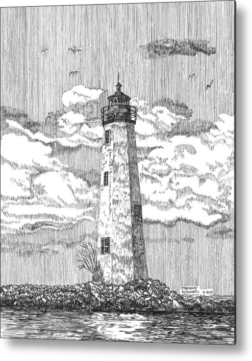 New Point Comfort Lighthouse Metal Print featuring the drawing New Point Comfort Lighthouse by Stephany Elsworth