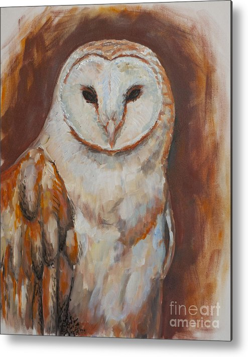 Animals Metal Print featuring the painting Owl by Vic Freyd