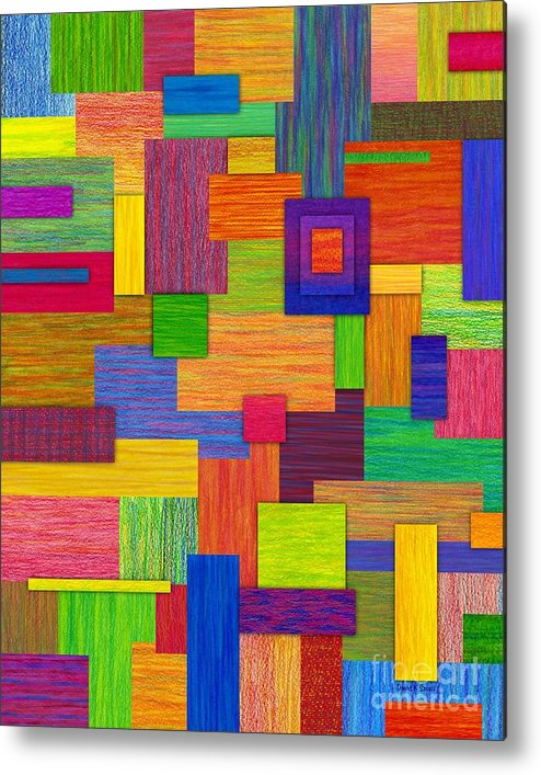 Colored Pencil Metal Print featuring the painting Parallelograms by David K Small