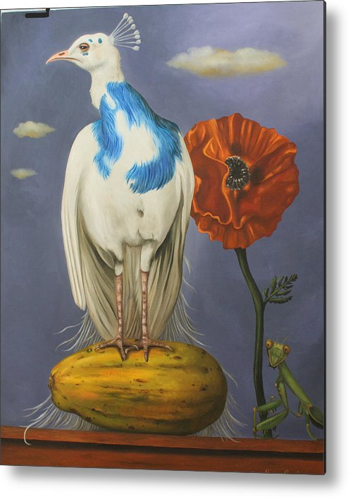 Peacock Metal Print featuring the painting Peacock On A Papaya by Leah Saulnier The Painting Maniac