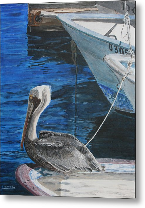 Ocean Metal Print featuring the painting Pelican On A Boat by Ian Donley