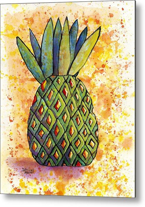Fruit Metal Print featuring the painting Pineapple Fun by Darice Machel McGuire