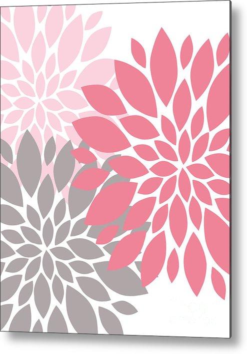 Pink Metal Print featuring the digital art Pink Gray Peony Flowers by Voros Edit