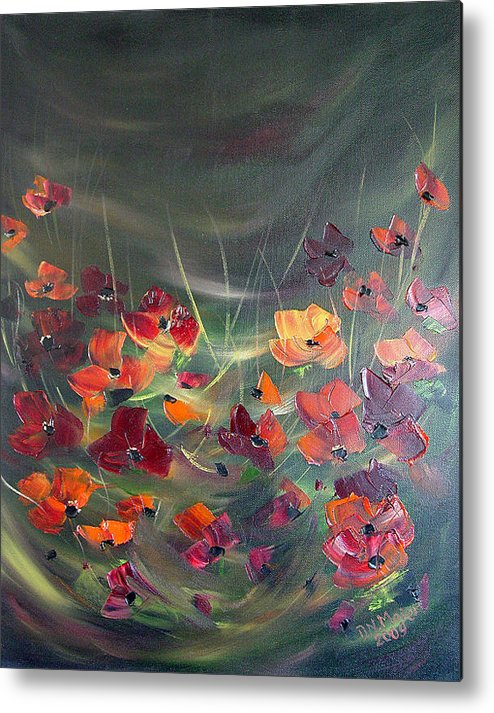 Poppies Metal Print featuring the painting Poppies In The Shadow by Dorothy Maier