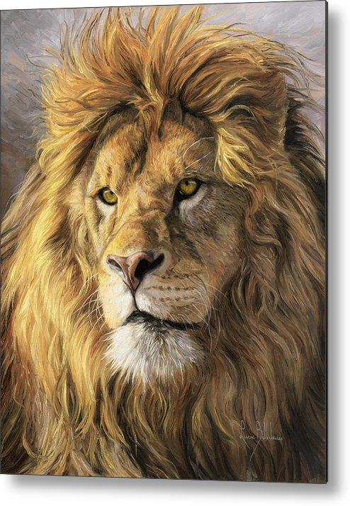 Lion Metal Print featuring the painting Portrait Of A Lion by Lucie Bilodeau