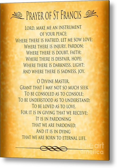 picture about St Francis Prayer Printable named Prayer Of St Francis - Pope Francis Prayer - Gold Parchment Metallic Print