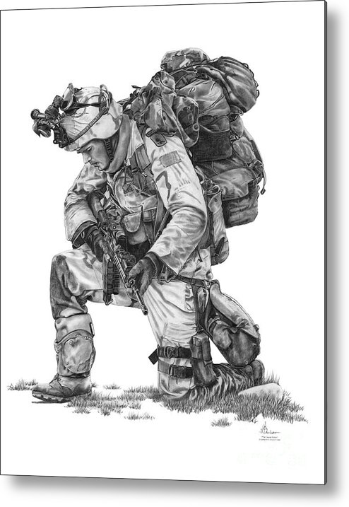 Soldier Metal Print featuring the drawing Praying Soldier by Murphy Elliott