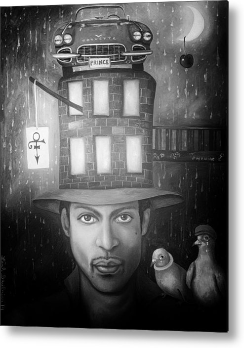 Prince Metal Print featuring the painting Prince Edit 4 by Leah Saulnier The Painting Maniac
