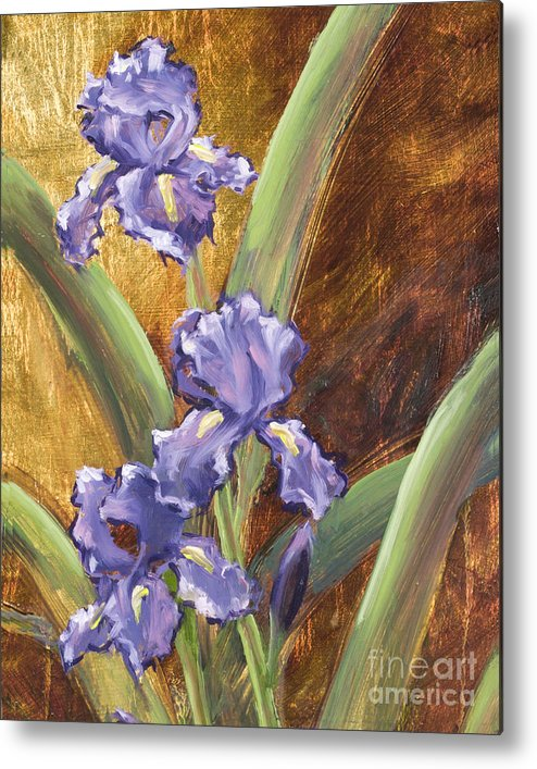 Iris Metal Print featuring the painting Purple Iris With Gold Leaf By Vic Mastis by Vic Mastis