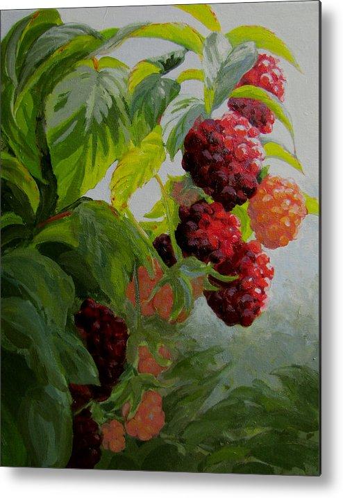 Berries Metal Print featuring the painting Razzleberries by Karen Ilari
