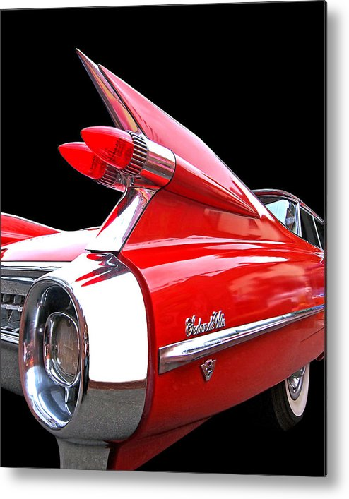 Cadillac Metal Print featuring the photograph Red Cadillac Sedan De Ville 1959 Tail Fins by Gill Billington