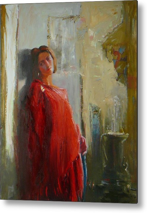 Red Poncho Metal Print featuring the painting Red Poncho by Irena Jablonski