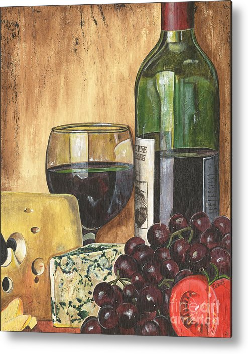 Red Wine Metal Print featuring the painting Red Wine And Cheese by Debbie DeWitt