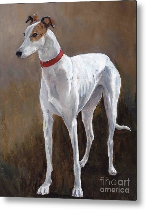 Greyhound Metal Print featuring the painting Rescued Racer by Charlotte Yealey