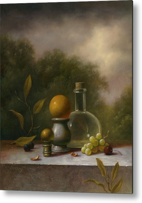 Still Life Landscape Painting Oils Oil Glass Bottle Grapes Plants Egg Trees Summer Artwork Fantasy Surreal Mystical Magical Placid Traditional Realism Paintings Metal Print featuring the painting Reverie by Paul Abrams