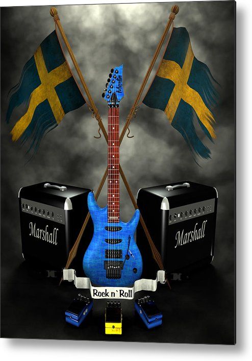 Rock N Roll Metal Print featuring the digital art Rock N Roll Crest- Sweden by Frederico Borges