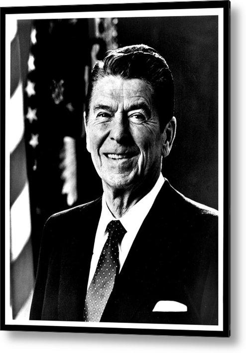 Ronald Metal Print featuring the photograph Ronald Reagan by Benjamin Yeager