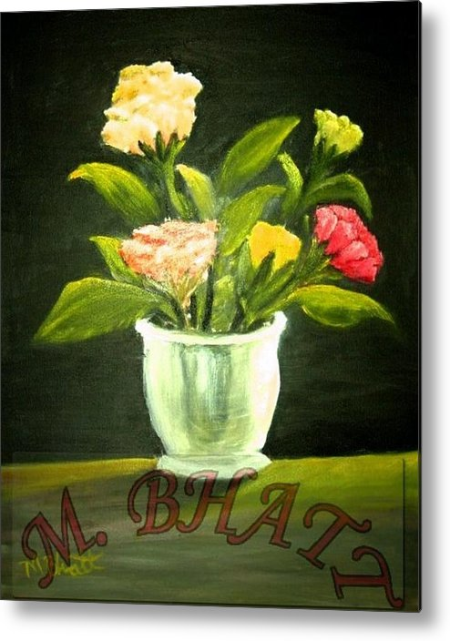 Floral Metal Print featuring the painting Roses In Marble Pot by M Bhatt