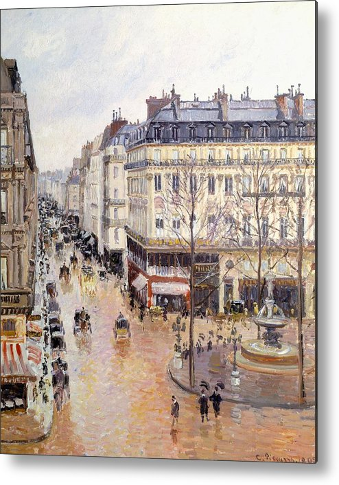Art Metal Print featuring the painting Rue Saint Honore Afternoon Rain Effect by Camille Pissarro