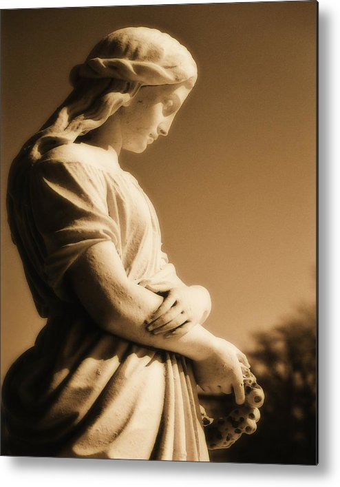 Brown Metal Print featuring the photograph Sepia Angel Dream by Gothicrow Images
