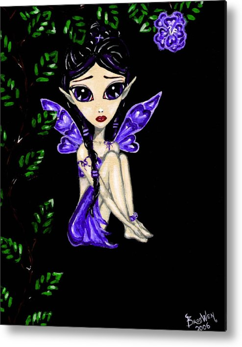 Fairy Metal Print featuring the painting Shy Violet Fairy by Bronwen Skye